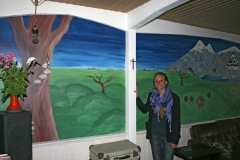 Mural with artist